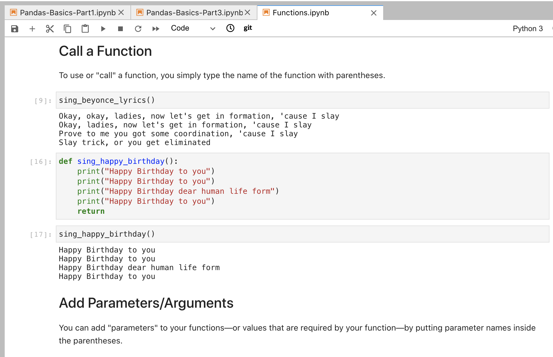 Example of a Jupyter notebook about Python functions and Beyonce