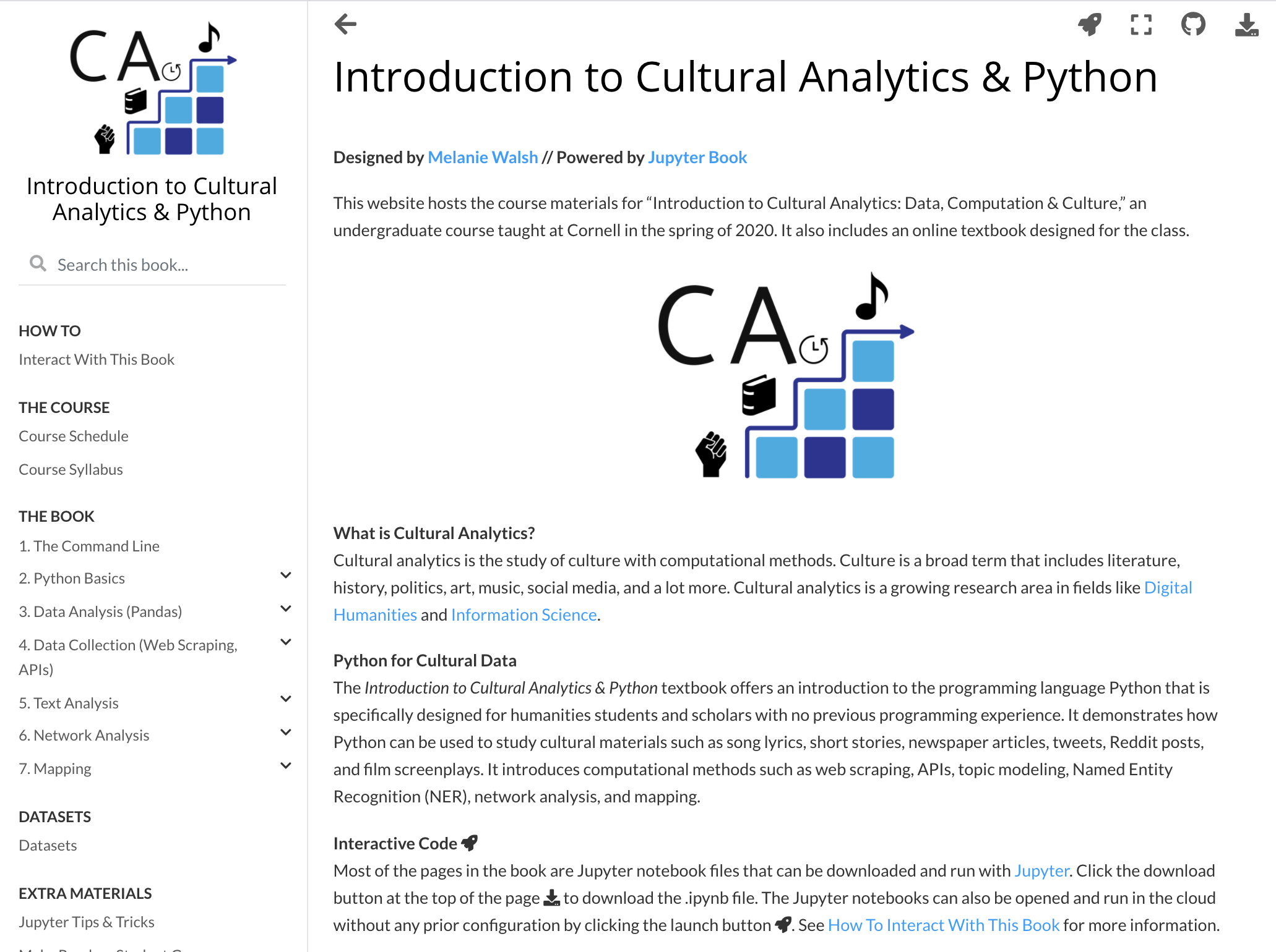 Intro Cultural Analytics home page